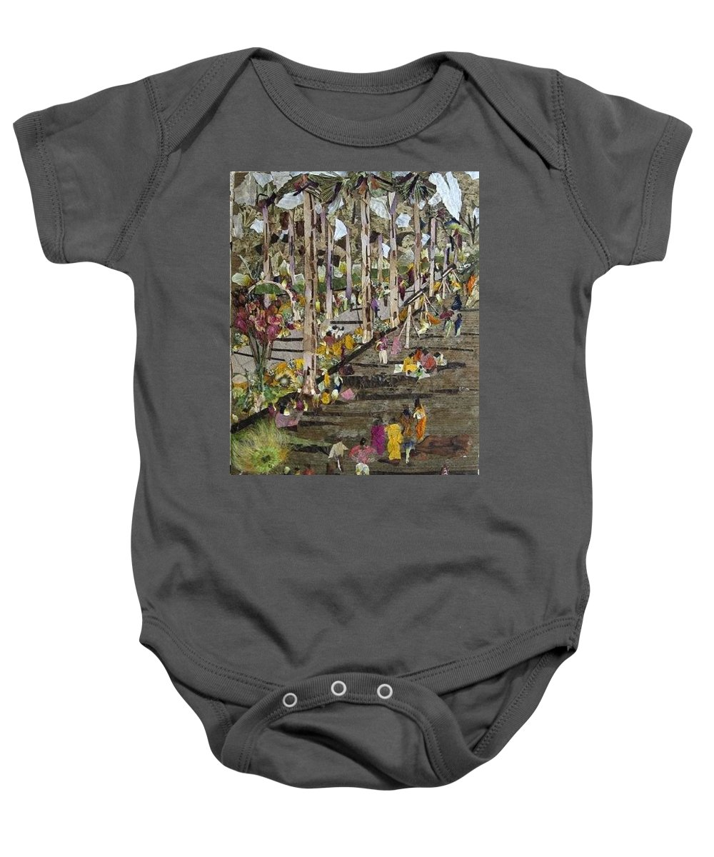 Garden Morning View Baby Onesie featuring the mixed media Garden Picnic by Basant Soni