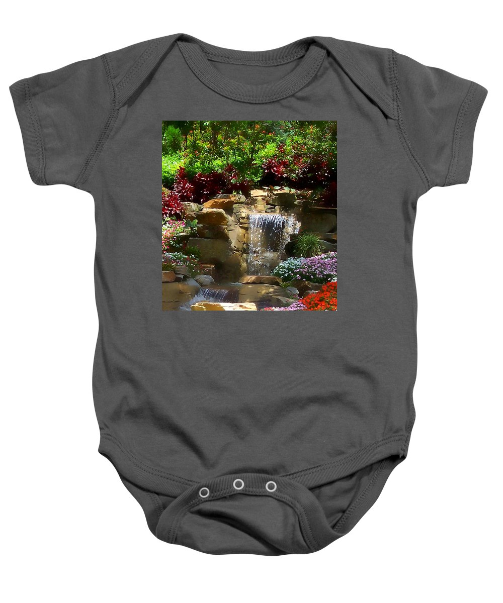 Garden Baby Onesie featuring the photograph Garden Waterfalls by Pharris Art
