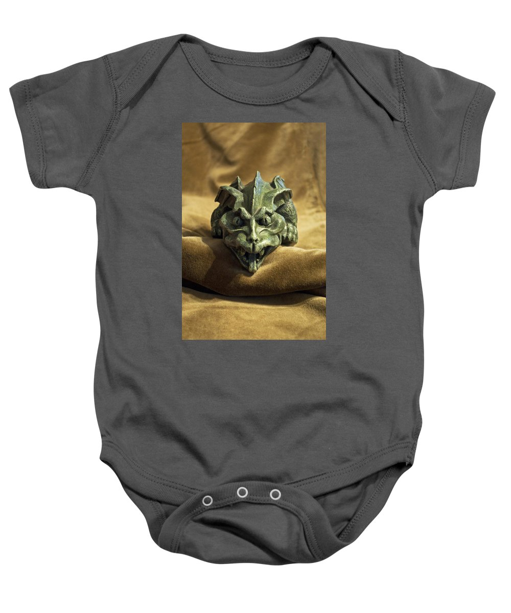 Mythical Baby Onesie featuring the photograph Gargoyle Or Grotesque by Sally Rockefeller