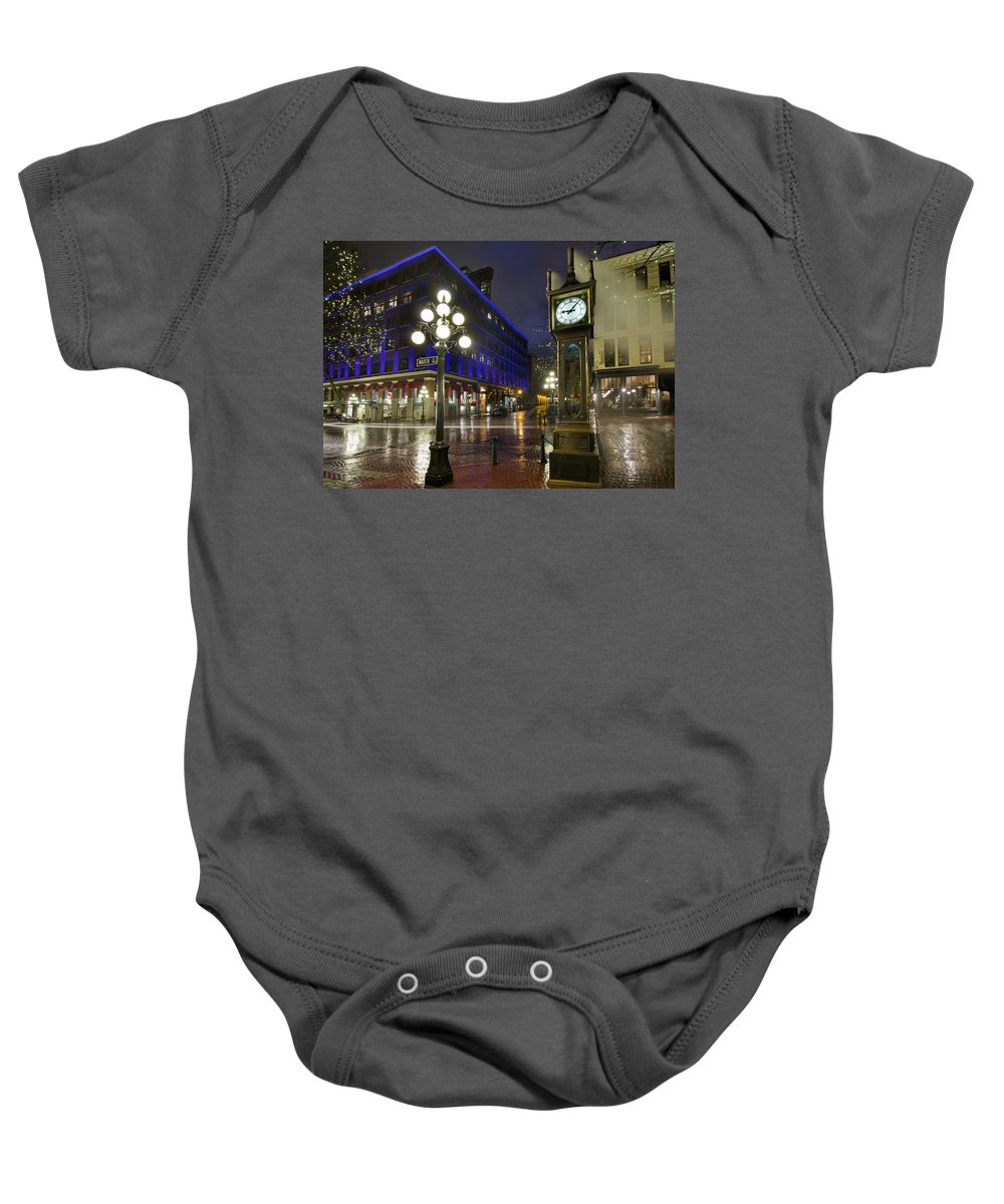 Gastown Baby Onesie featuring the photograph Gastown Steam Clock On A Rainy Night by Jit Lim