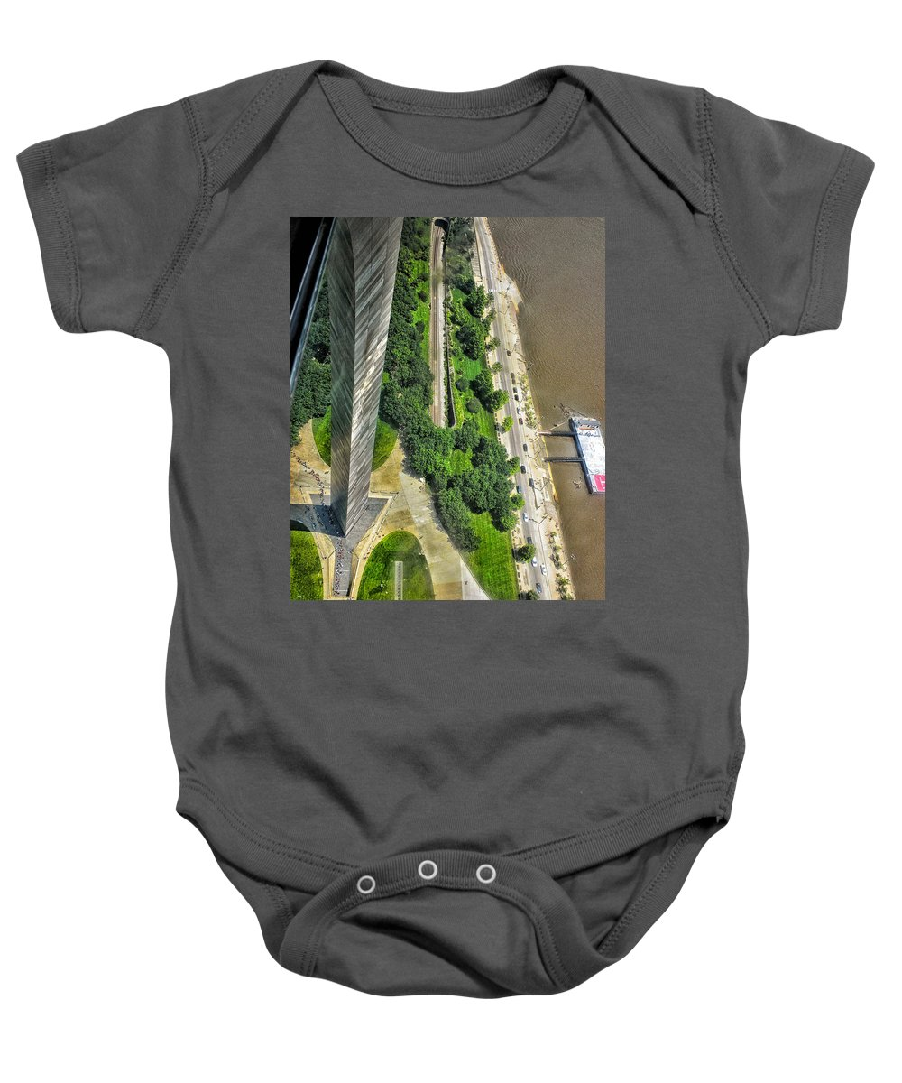 St Louis Baby Onesie featuring the photograph Gateway Arch St Louis 10 by Thomas Woolworth