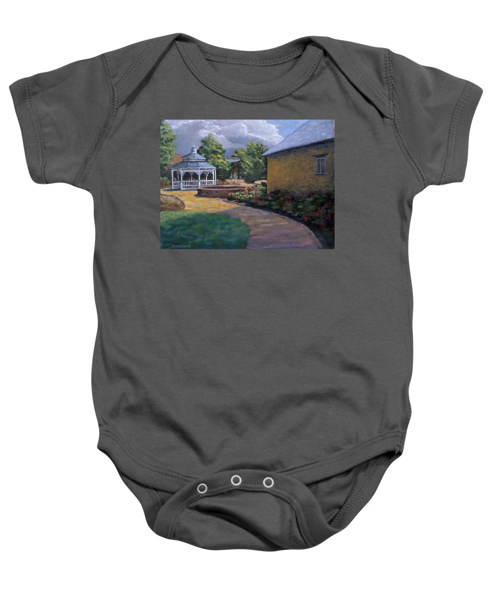 Potter Baby Onesie featuring the painting Gazebo In Potter Nebraska by Jerry McElroy