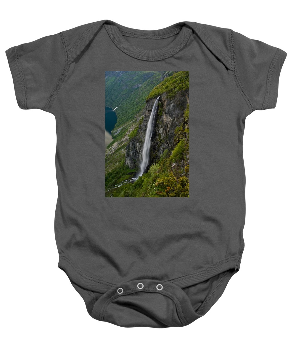 Waterfall Baby Onesie featuring the photograph Geirangerfjord Waterfall by Benjamin Reed