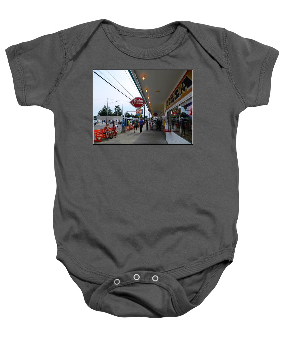 Archtecture Baby Onesie featuring the photograph Geneva On The Lake Arcade by Kathy Barney