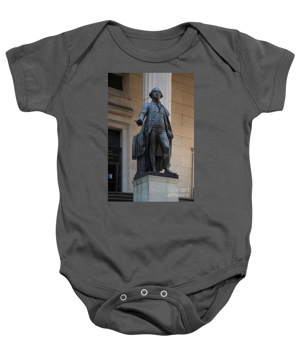 Downtown Baby Onesie featuring the digital art George Washington Statue by Carol Ailles