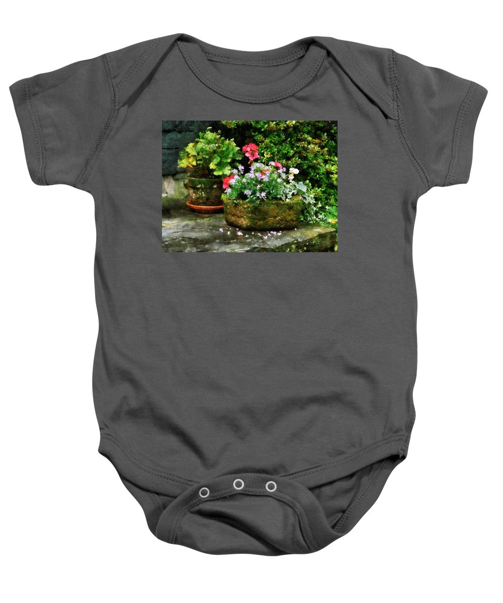 Flower Baby Onesie featuring the photograph Geraniums And Lavender Flowers On Stone Steps by Susan Savad