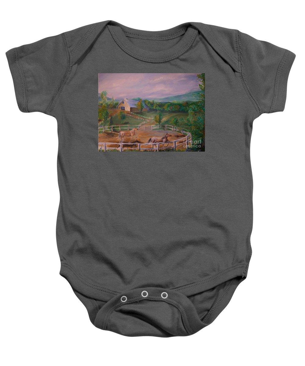 Pennsylvania Baby Onesie featuring the painting Gettysburg Farm by Eric Schiabor