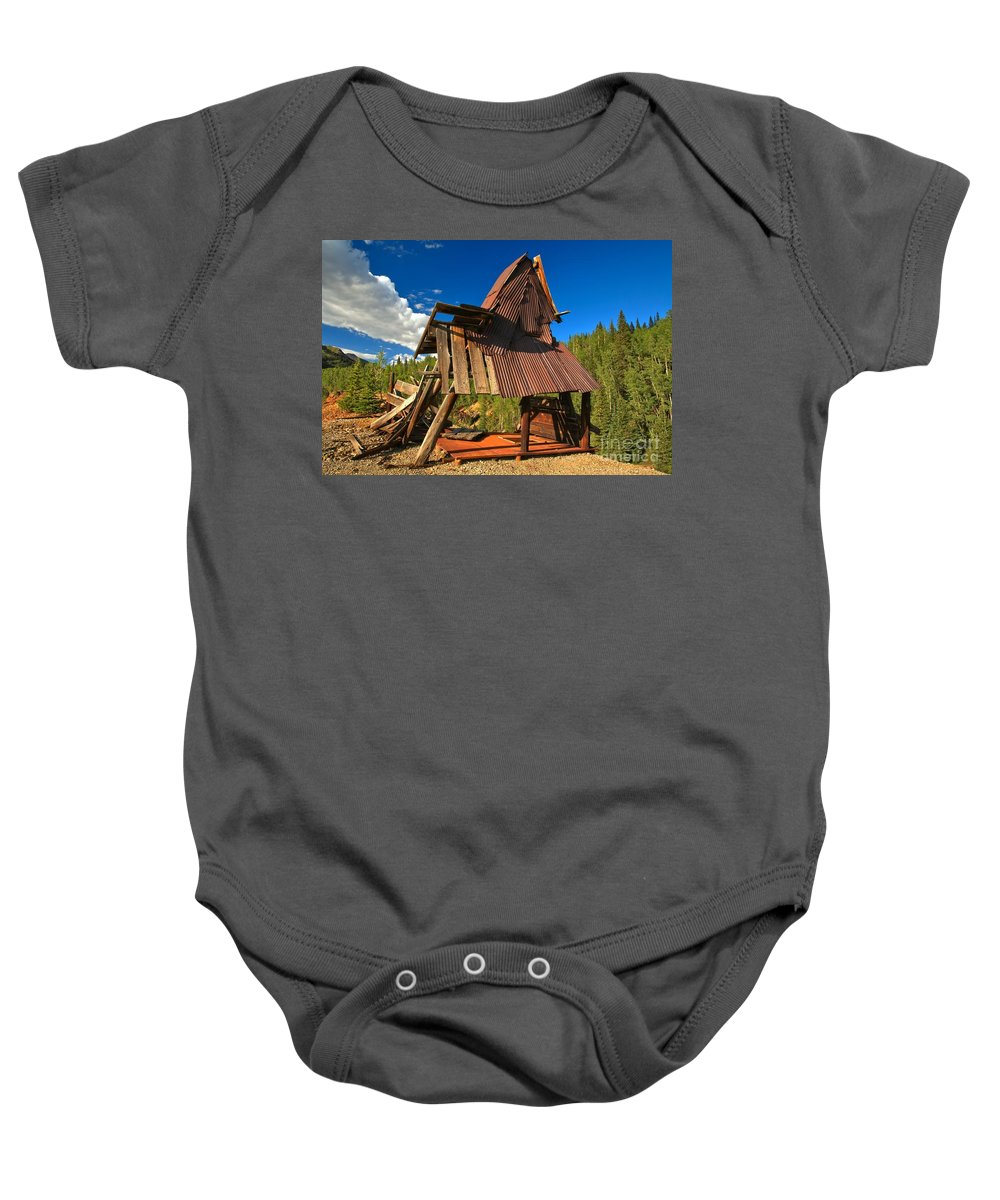Colorado Mine Baby Onesie featuring the photograph Ghost Of An A-frame by Adam Jewell