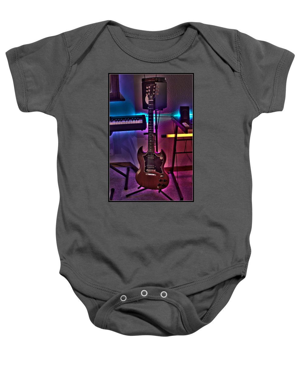 Guitar Baby Onesie featuring the photograph Gibson In Studio by Dany Lison