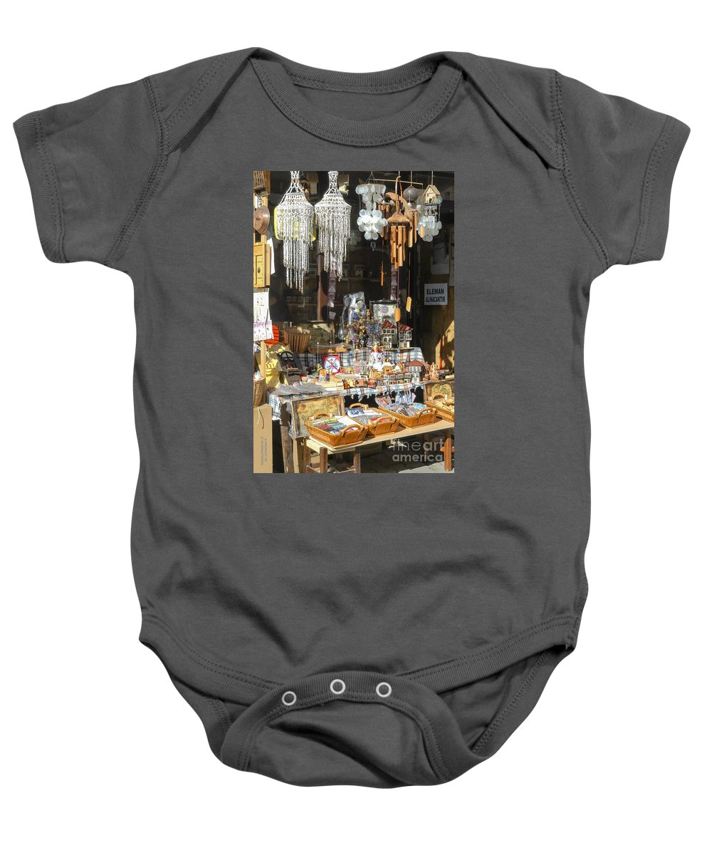 Safranbolu Turkey Street Market Markets Gifts Wind Chimes Chime Odds And Ends Souvenir Souvenirs Streets Cityscape Cityscapes City Cities Baby Onesie featuring the photograph Gifts And Things by Bob Phillips