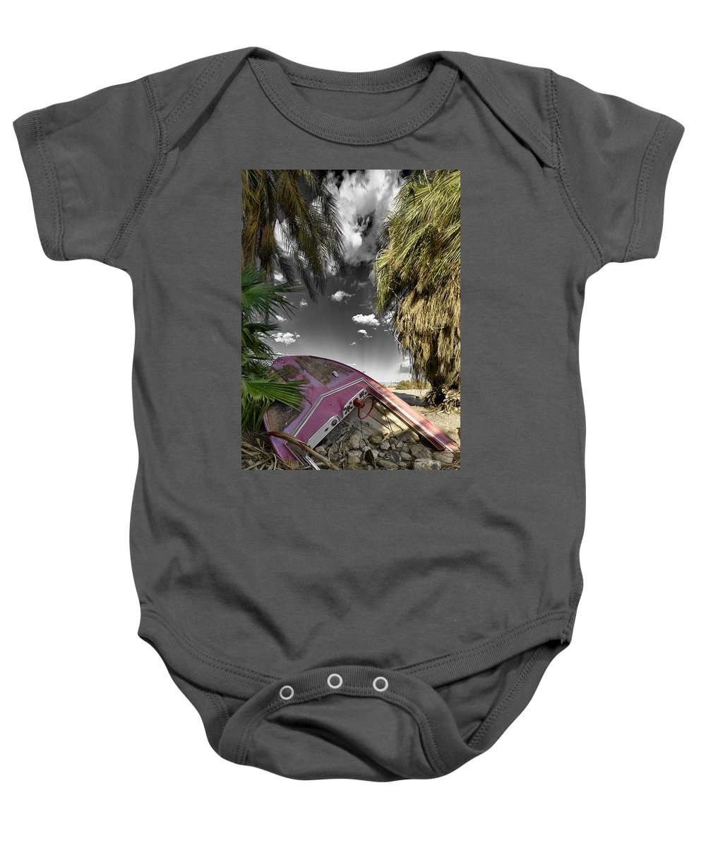 Boat Baby Onesie featuring the photograph Gilligans Island Black And White 1 by Scott Campbell