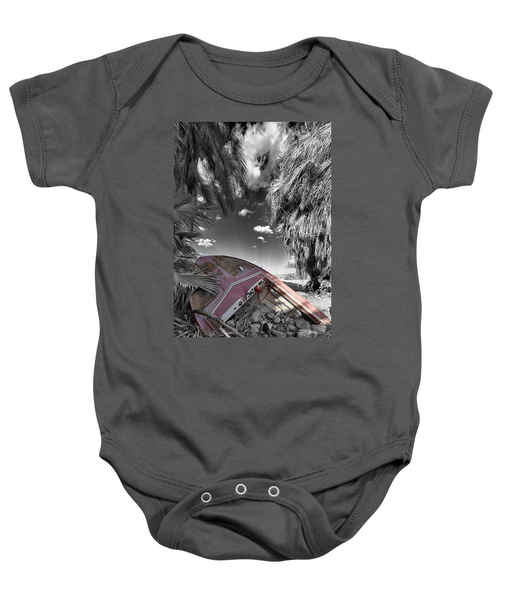 Boat Baby Onesie featuring the photograph Gilligans Island Black And White 2 by Scott Campbell