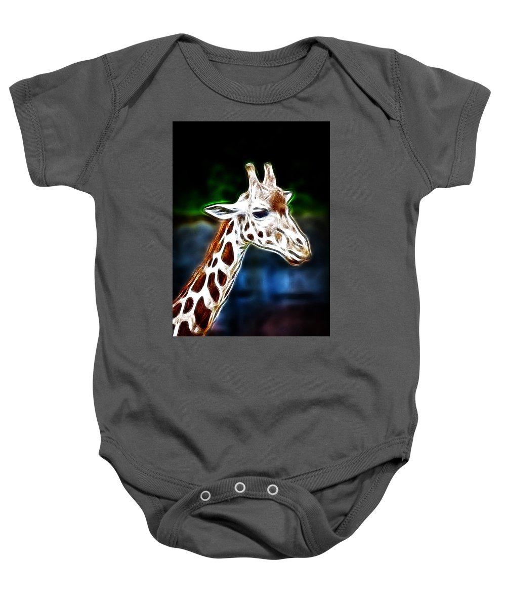 Giraffe Baby Onesie featuring the photograph Giraffe Zoo Art by Steve McKinzie