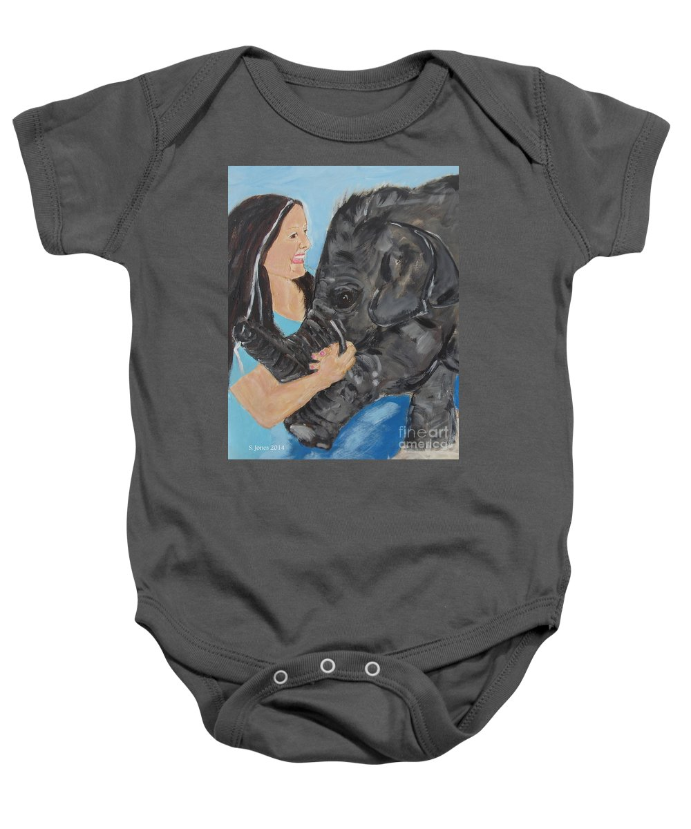 Girl Baby Onesie featuring the painting Girl And Baby Elephant by Shelley Jones