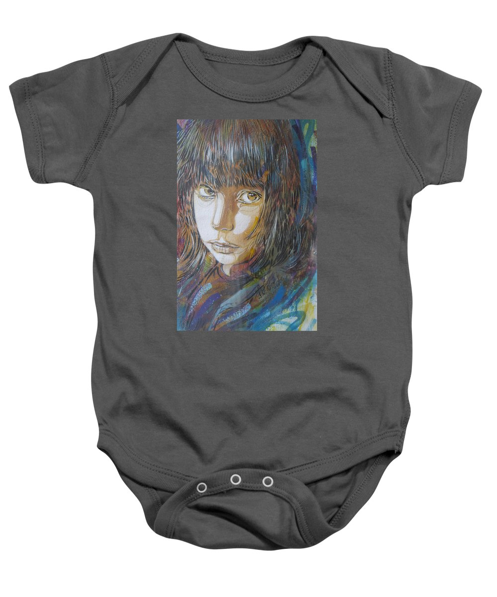 Street Art Baby Onesie featuring the photograph Girl By C215 by David Resnikoff