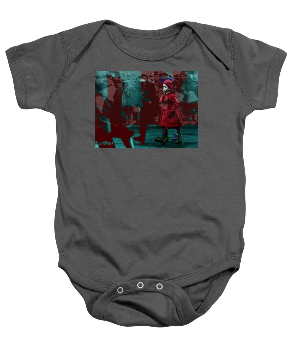 Girl In The Blood-sstained Coat Baby Onesie featuring the mixed media Girl In The Blood-stained Coat by Seth Weaver