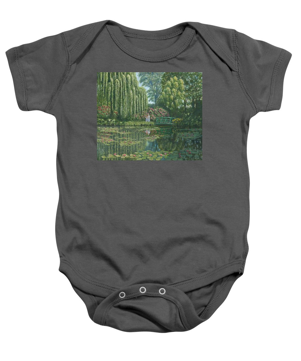 Landscape Baby Onesie featuring the painting Giverny Reflections by Richard Harpum