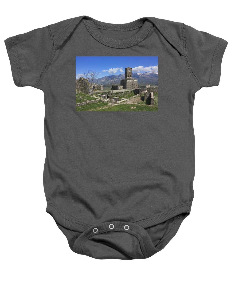 Albania Baby Onesie featuring the photograph Gjirokaster Castle Albania by Ivan Pendjakov
