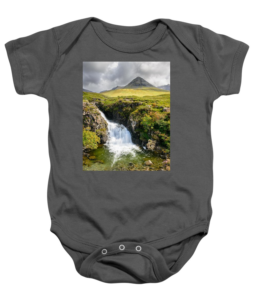 Europe Baby Onesie featuring the photograph Glen Brittle Waterfall by Michael Blanchette