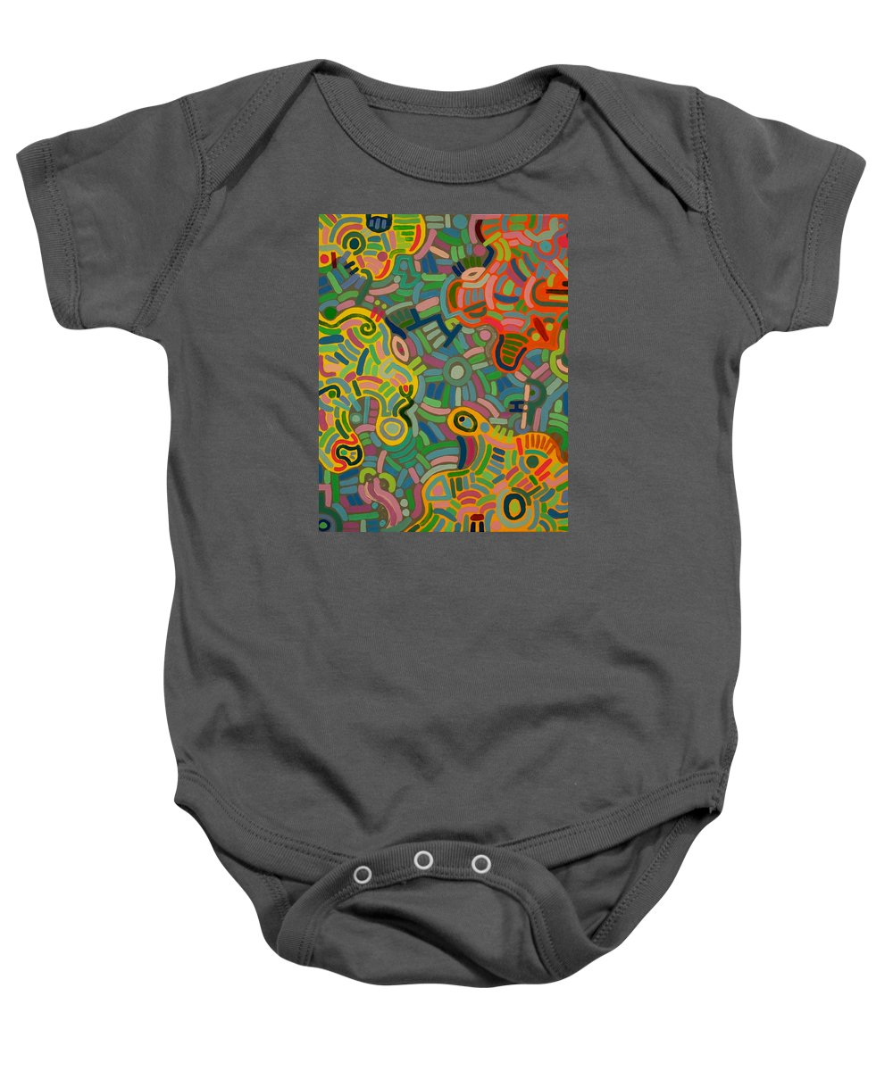 Geometric Baby Onesie featuring the painting Glyph One by Jeff Gater