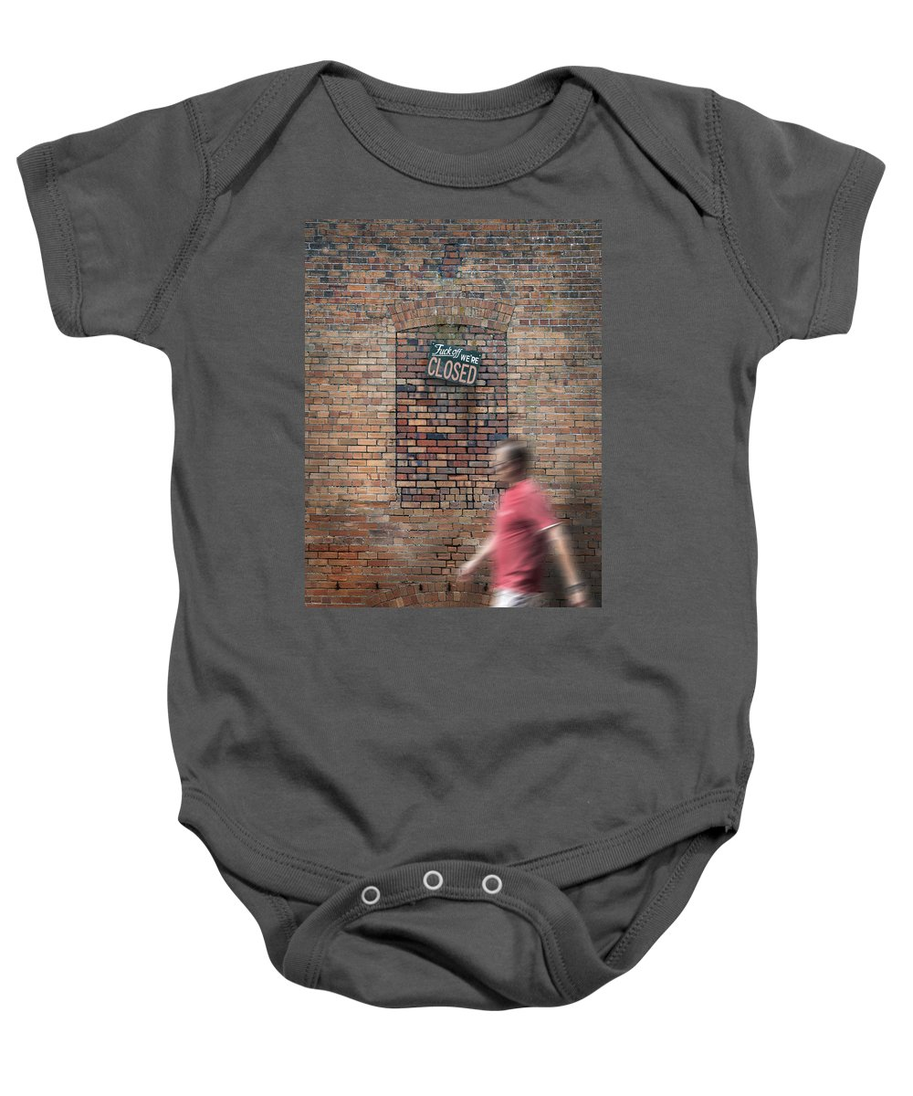 Closed Baby Onesie featuring the photograph Go Away by Mal Bray