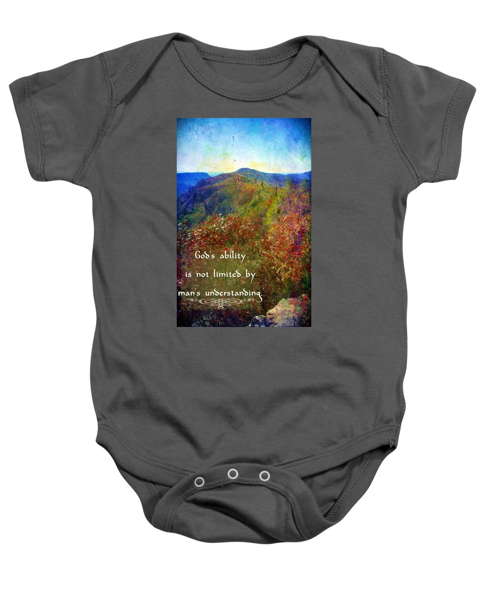 Jesus Baby Onesie featuring the digital art Gods Ability by Michelle Greene Wheeler