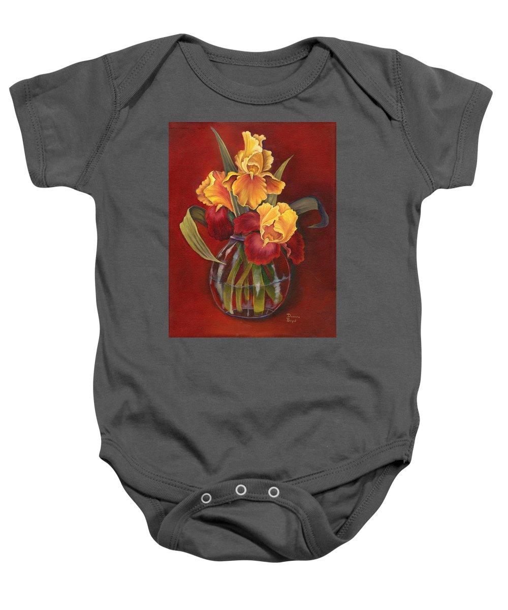 Oil Baby Onesie featuring the painting Gold N Red Iris by Doreta Y Boyd