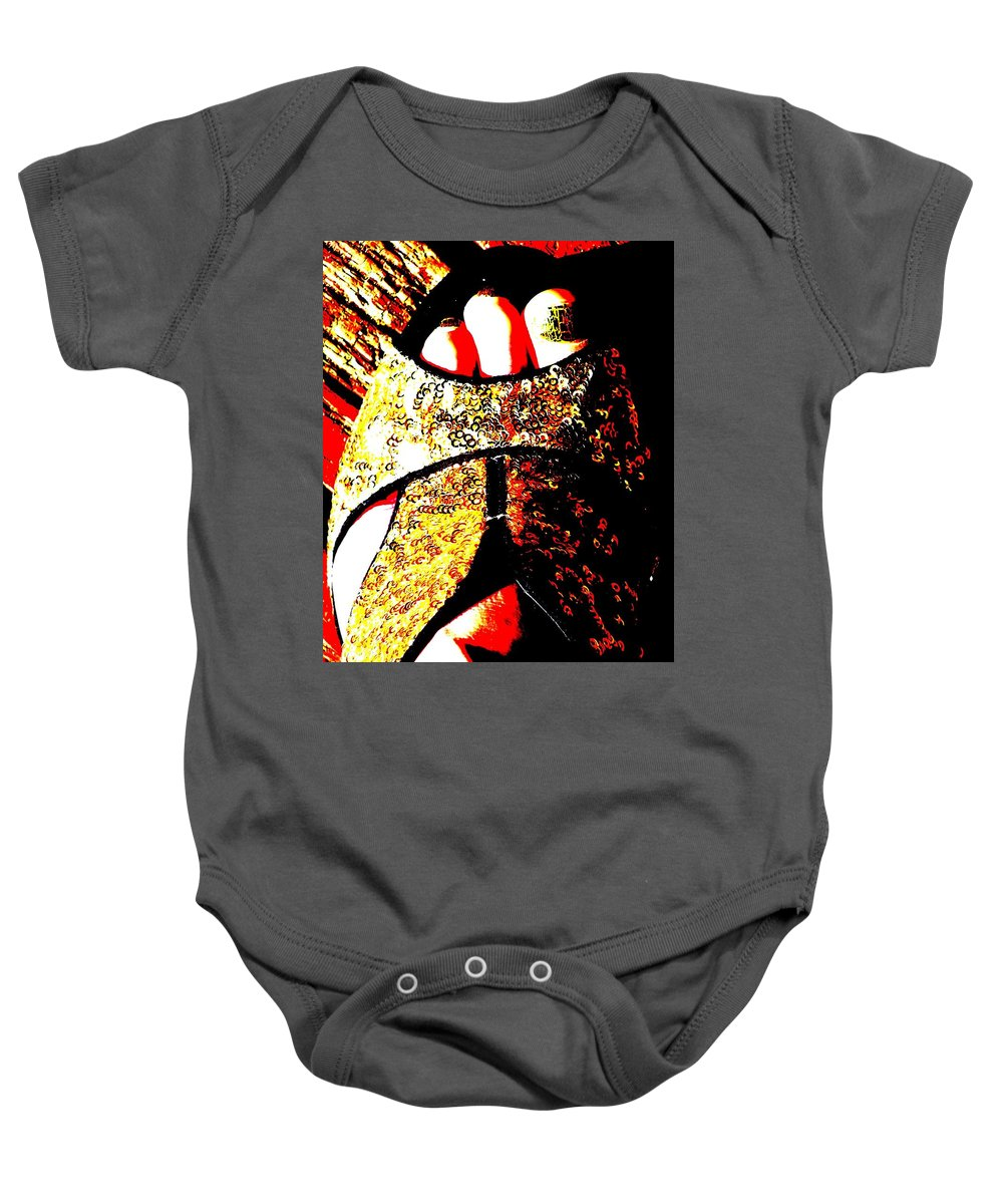 Foot Baby Onesie featuring the photograph Gold Shoe by Guy Pettingell