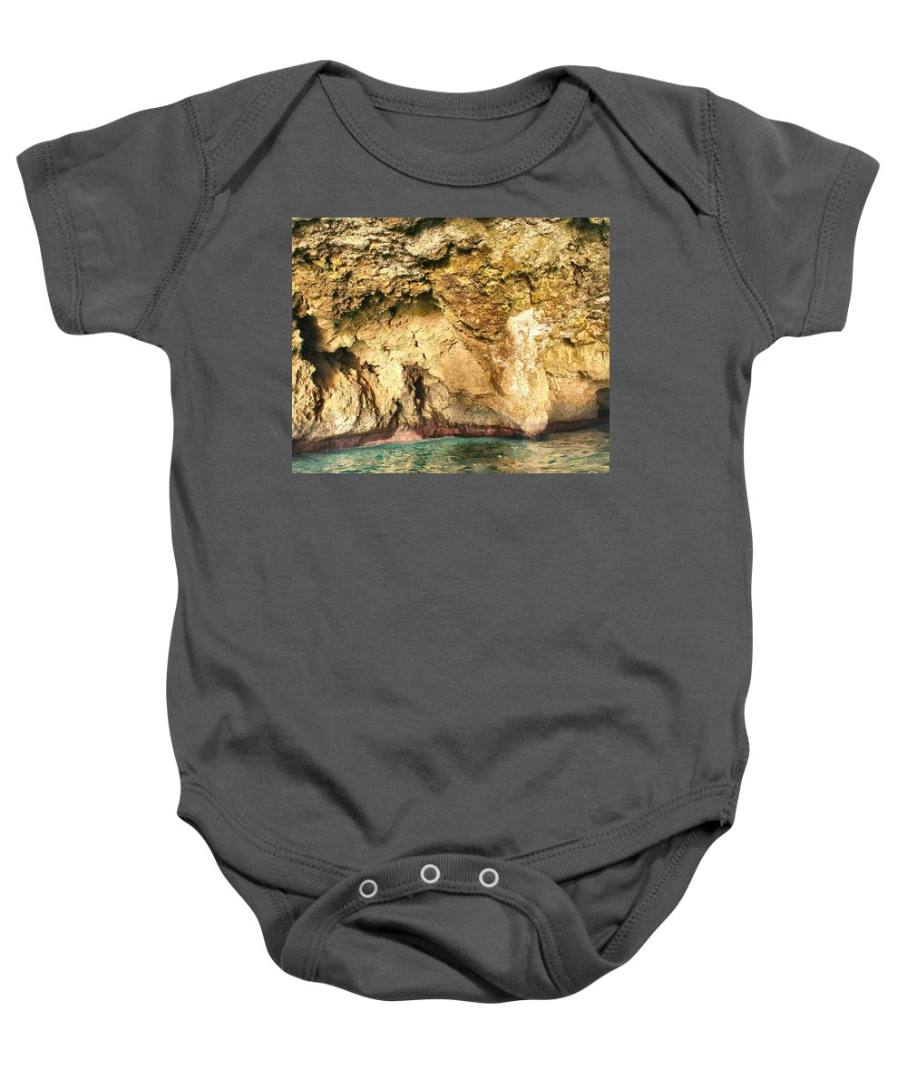 Cave Baby Onesie featuring the photograph Golden Cave by Debbie Levene