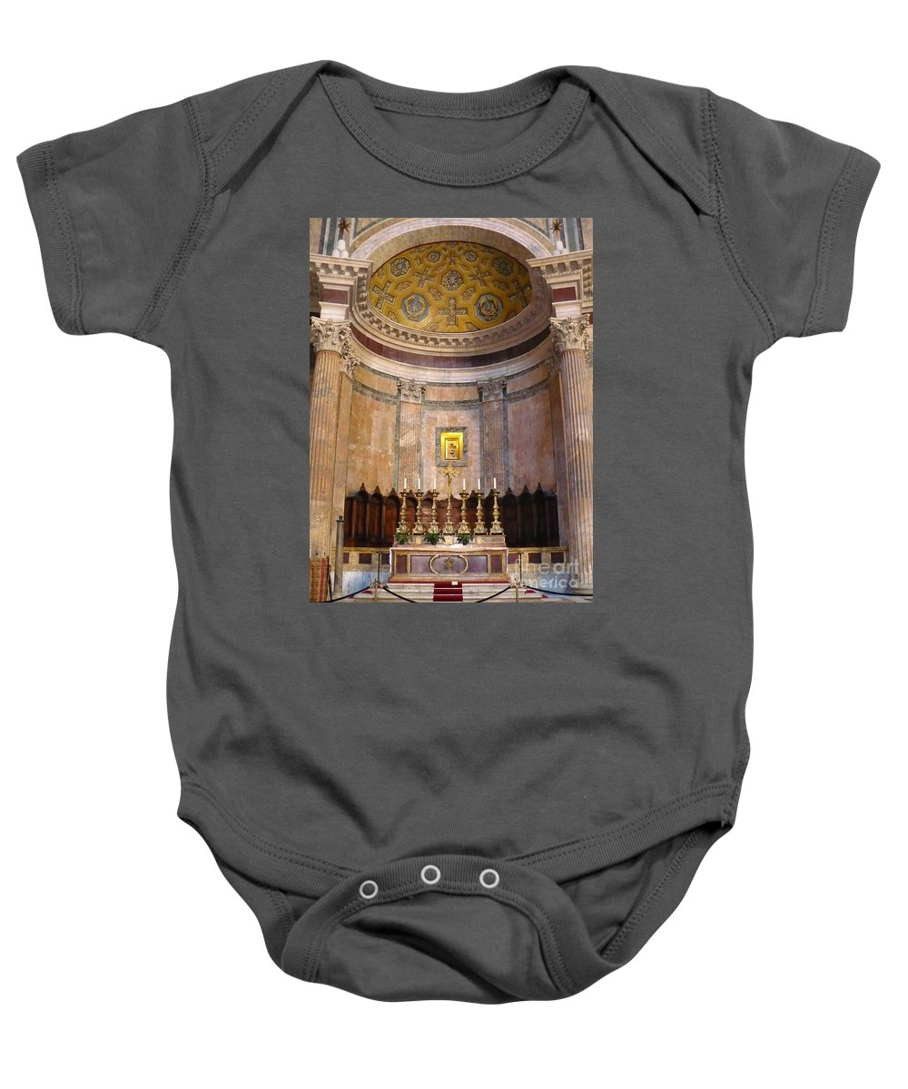 Pantheon Baby Onesie featuring the photograph Golden Pantheon Altar by Carol Groenen