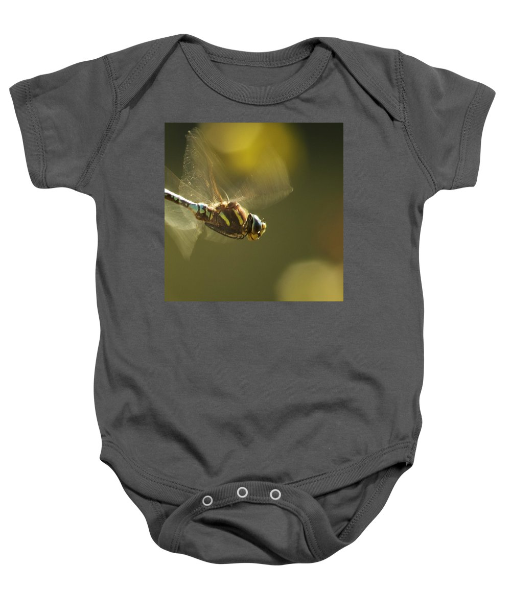 Dragonfly Baby Onesie featuring the photograph Golden Wings by Belinda Greb