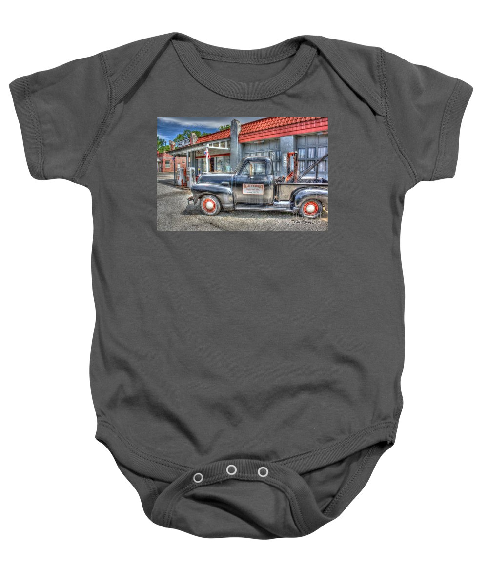 Gasoline Baby Onesie featuring the photograph Goober Says Hey by Dan Stone