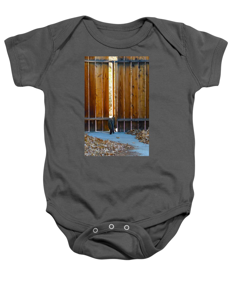 Cat Baby Onesie featuring the photograph Goodbye Winston 2 by Brent Dolliver