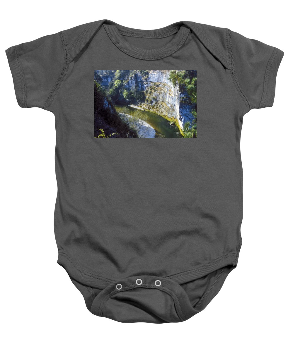 Gorge Du Tarn France Gorges Canyon Canyons Tree Trees Rock Rocks River Rivers Water Sand Landscape Landscapes Baby Onesie featuring the photograph Gorge Du Tarn by Bob Phillips
