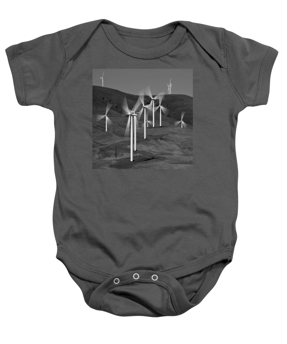 Gorge Windmills Bw Baby Onesie featuring the photograph Gorge Windmills B W by Wes and Dotty Weber