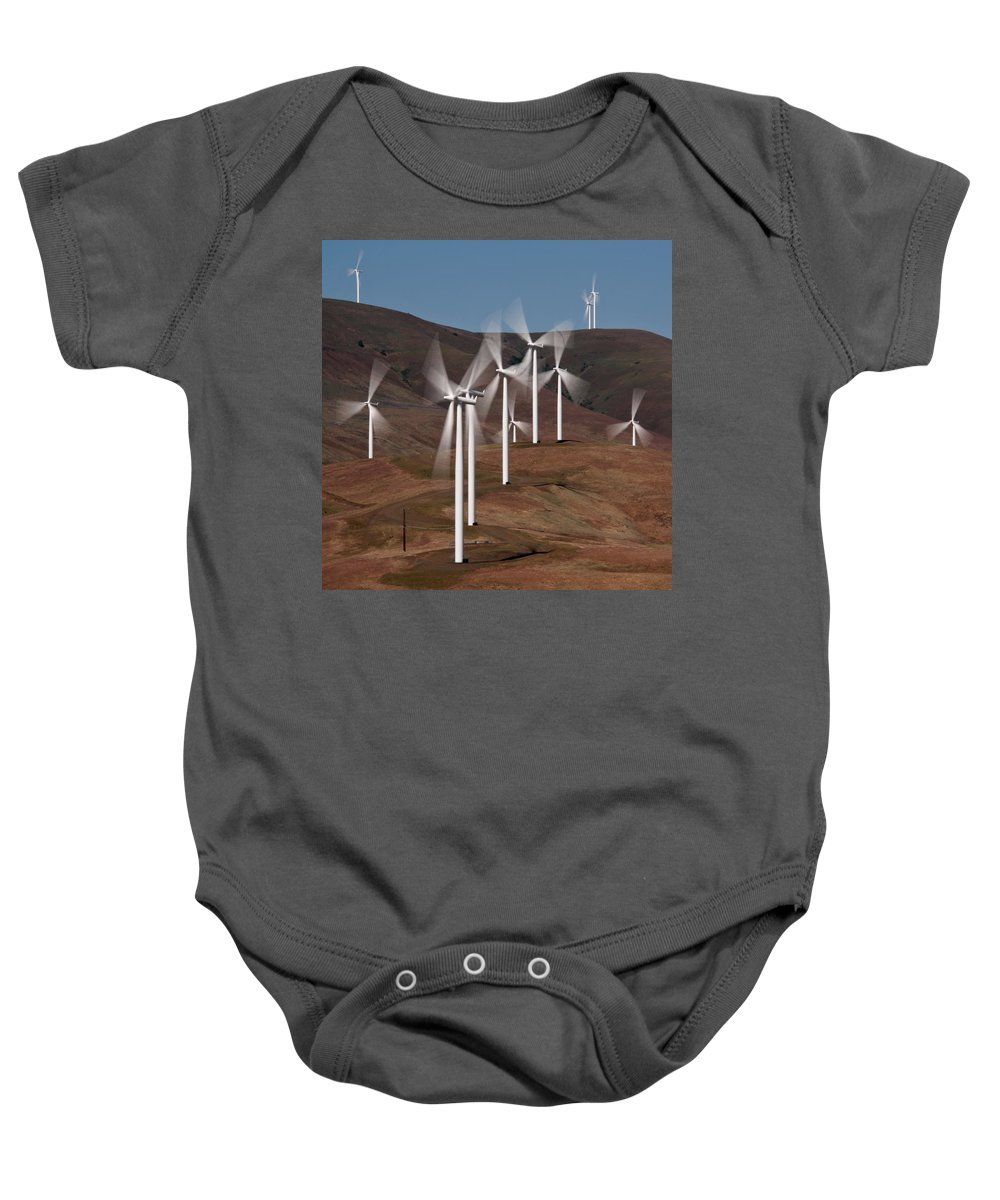 Gorge Windmills Baby Onesie featuring the photograph Gorge Windmills by Wes and Dotty Weber