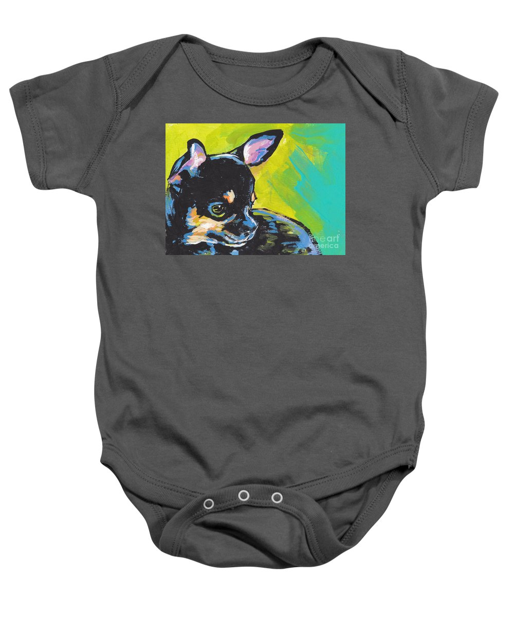 Chihuahua Baby Onesie featuring the painting Got Chi? by Lea S