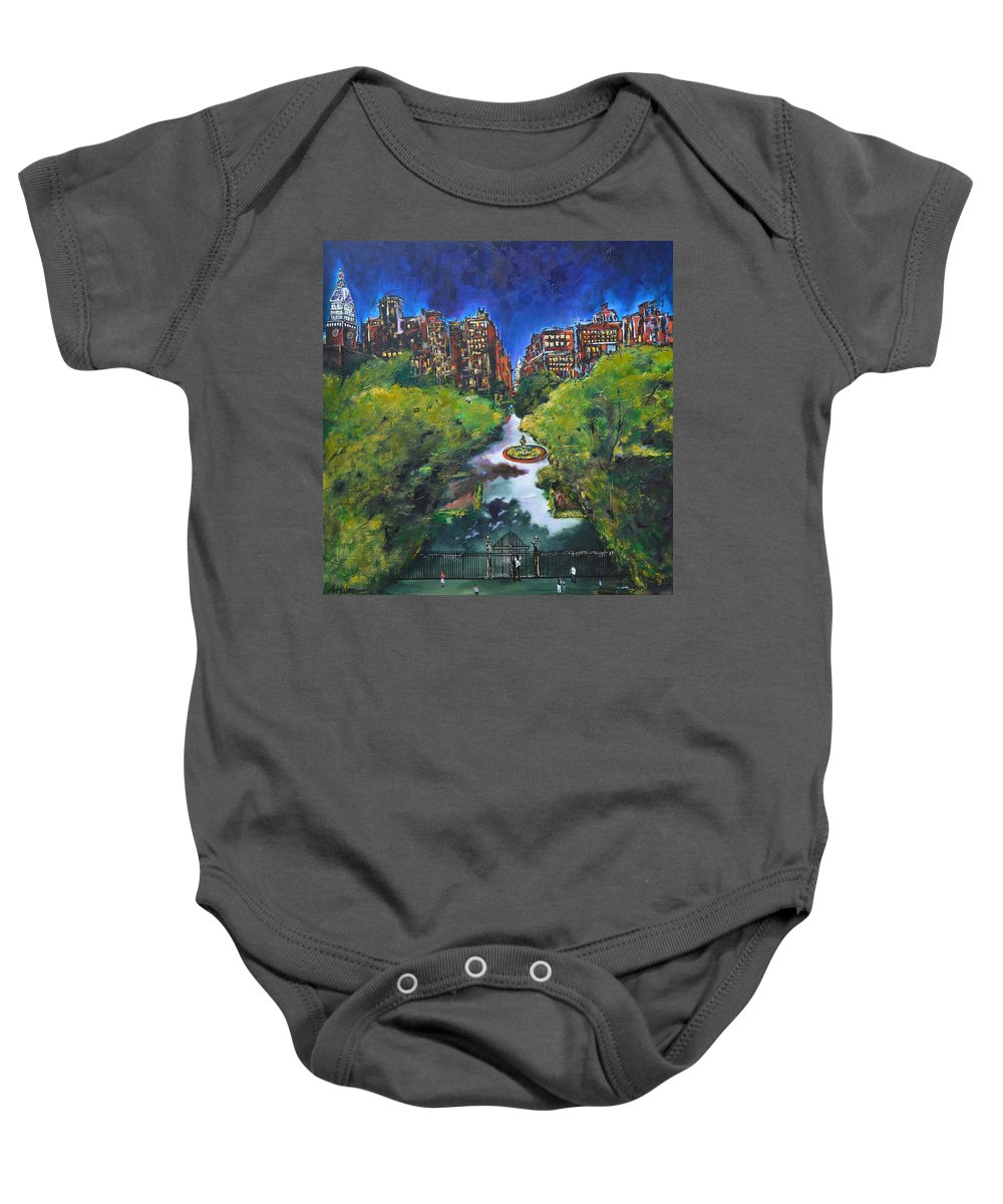 New York Baby Onesie featuring the painting Gramercy Park by Nancy Hilliard Joyce