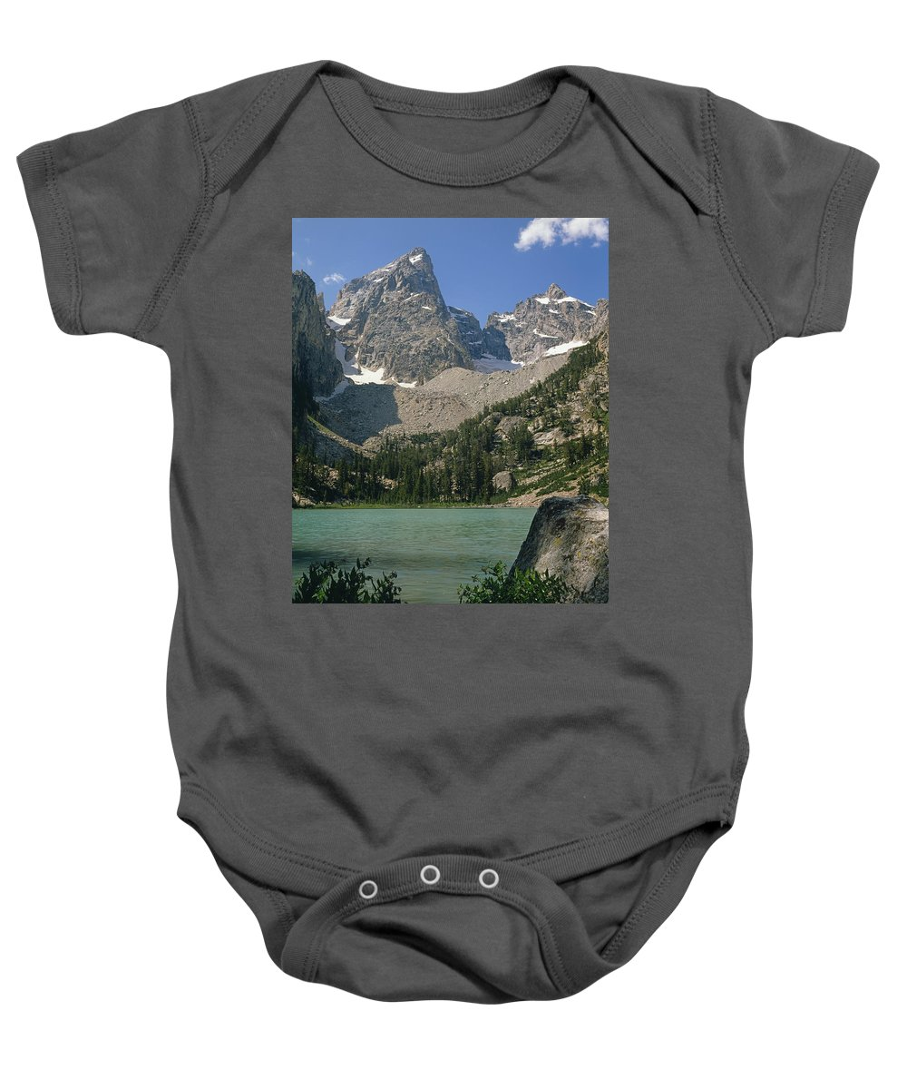Mt. Owen Baby Onesie featuring the photograph 1m9387-v-grand Teton And Delta Lake - V by Ed Cooper Photography