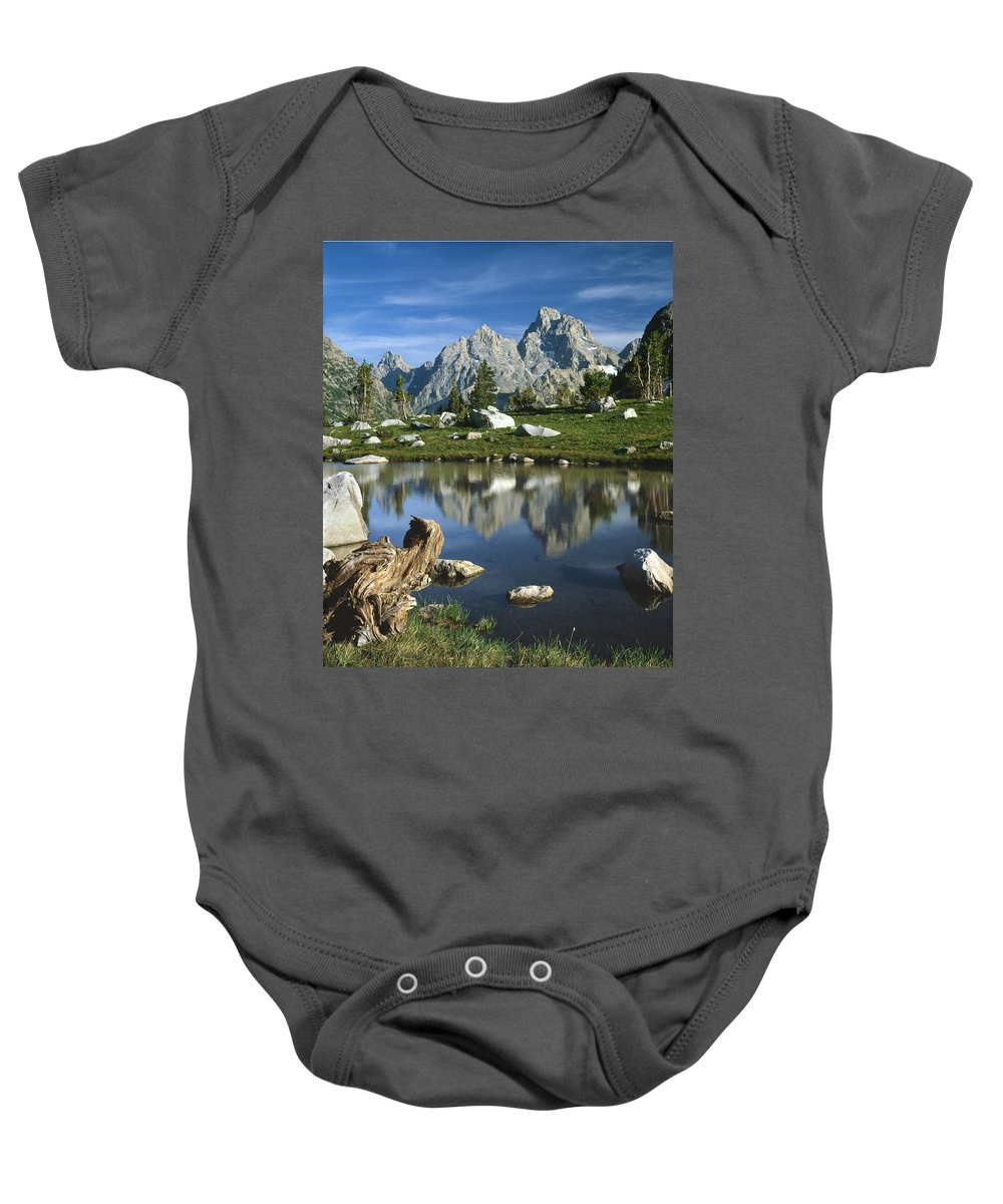 Reflection Baby Onesie featuring the photograph 1m9374-grand Teton Reflect by Ed Cooper Photography