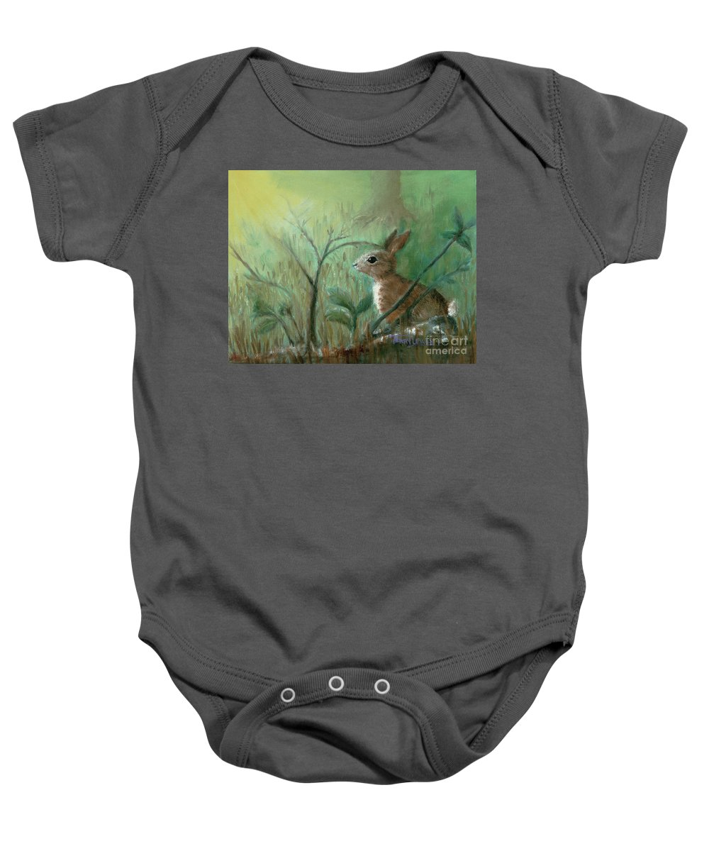 Rabbit Baby Onesie featuring the painting Grass Rabbit by Terry Lewey