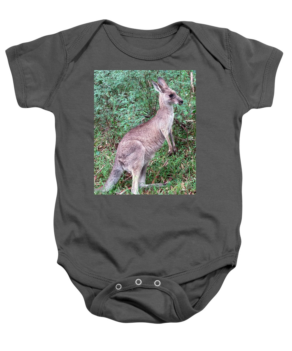 Grazing In The Grass Baby Onesie featuring the photograph Grazing In The Grass by Ellen Henneke