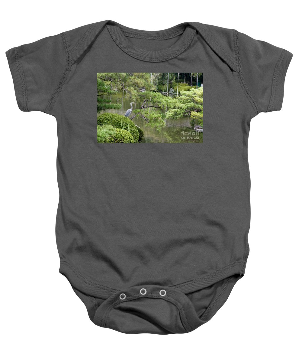 Blue Baby Onesie featuring the photograph Great Blue Heron In Pond Kyoto Japan by Thomas Marchessault