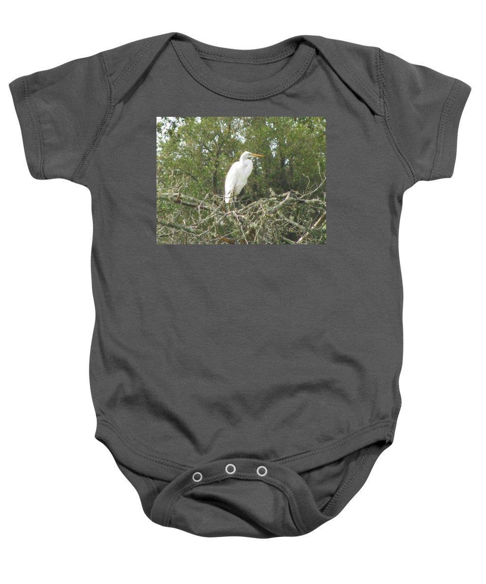 Landscape Baby Onesie featuring the photograph Great Egret Lookout by Ellen Meakin