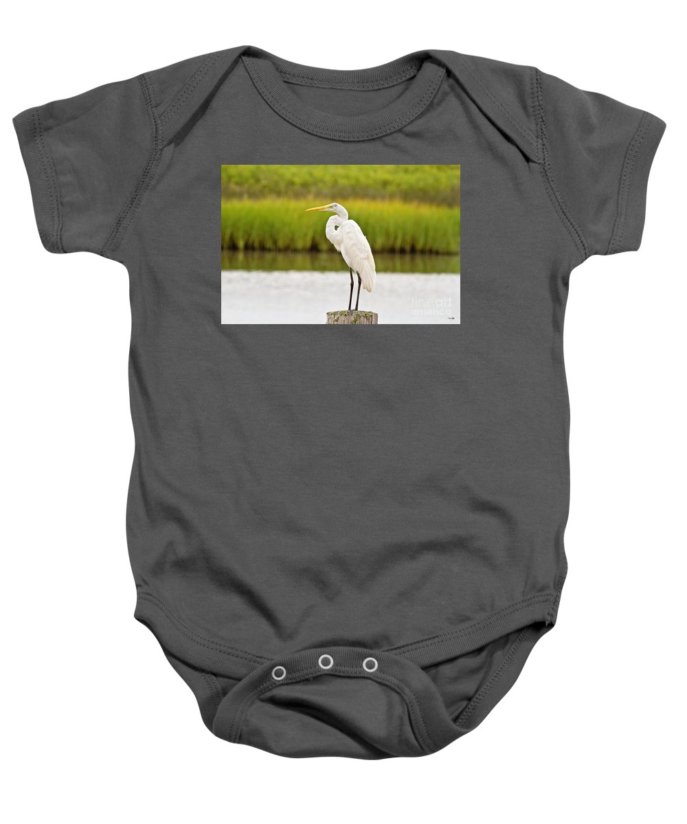 Marsh Baby Onesie featuring the photograph Great Egret by Scott Pellegrin