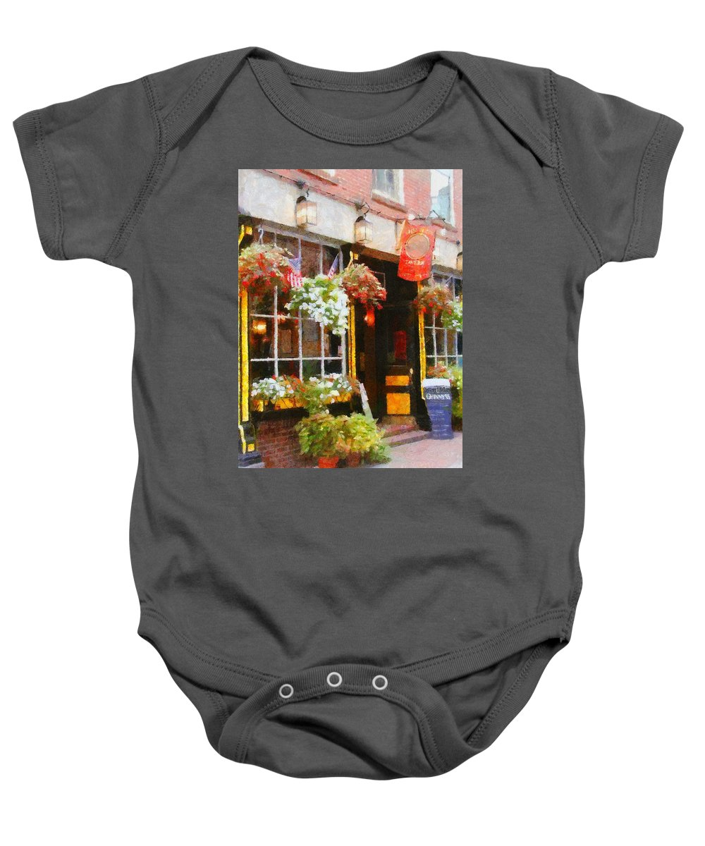 Bar Baby Onesie featuring the painting Green Dragon Tavern by Jeffrey Kolker