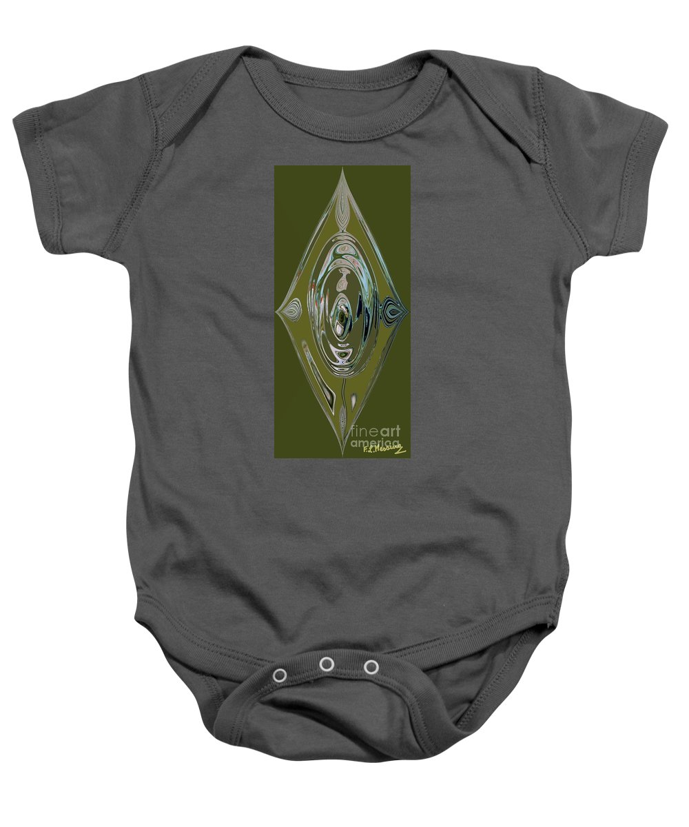 Abstract Baby Onesie featuring the painting Green Elegance by Loredana Messina