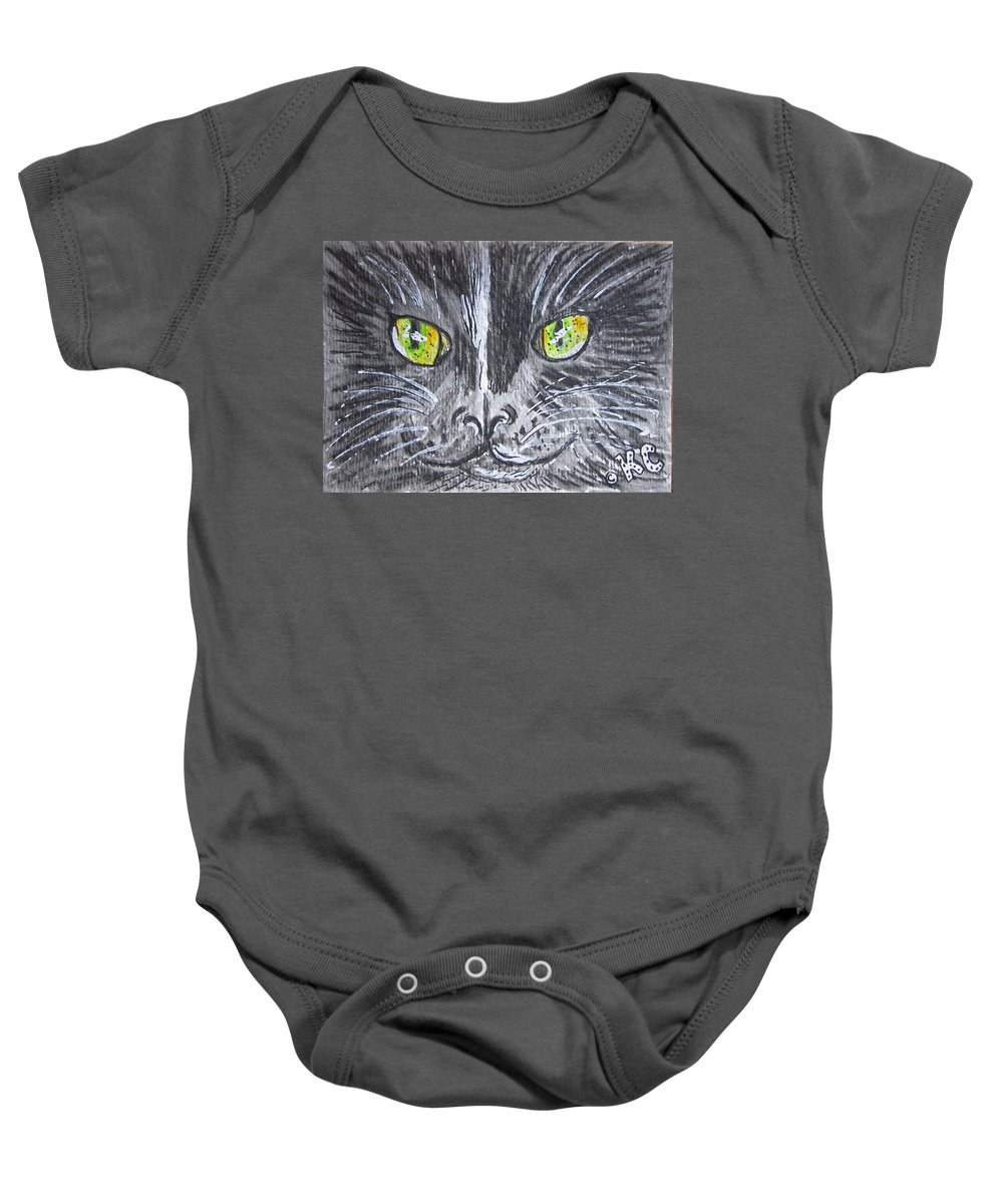 Green Eyes Baby Onesie featuring the painting Green Eyes Black Cat by Kathy Marrs Chandler