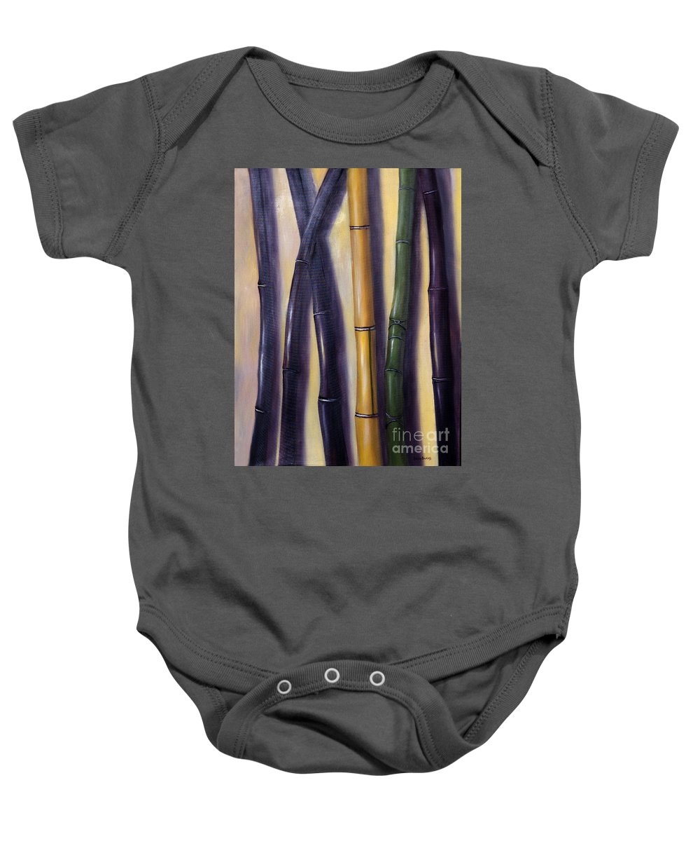 Bamboo Baby Onesie featuring the painting Green Gold And Black Bamboo by Randy Burns