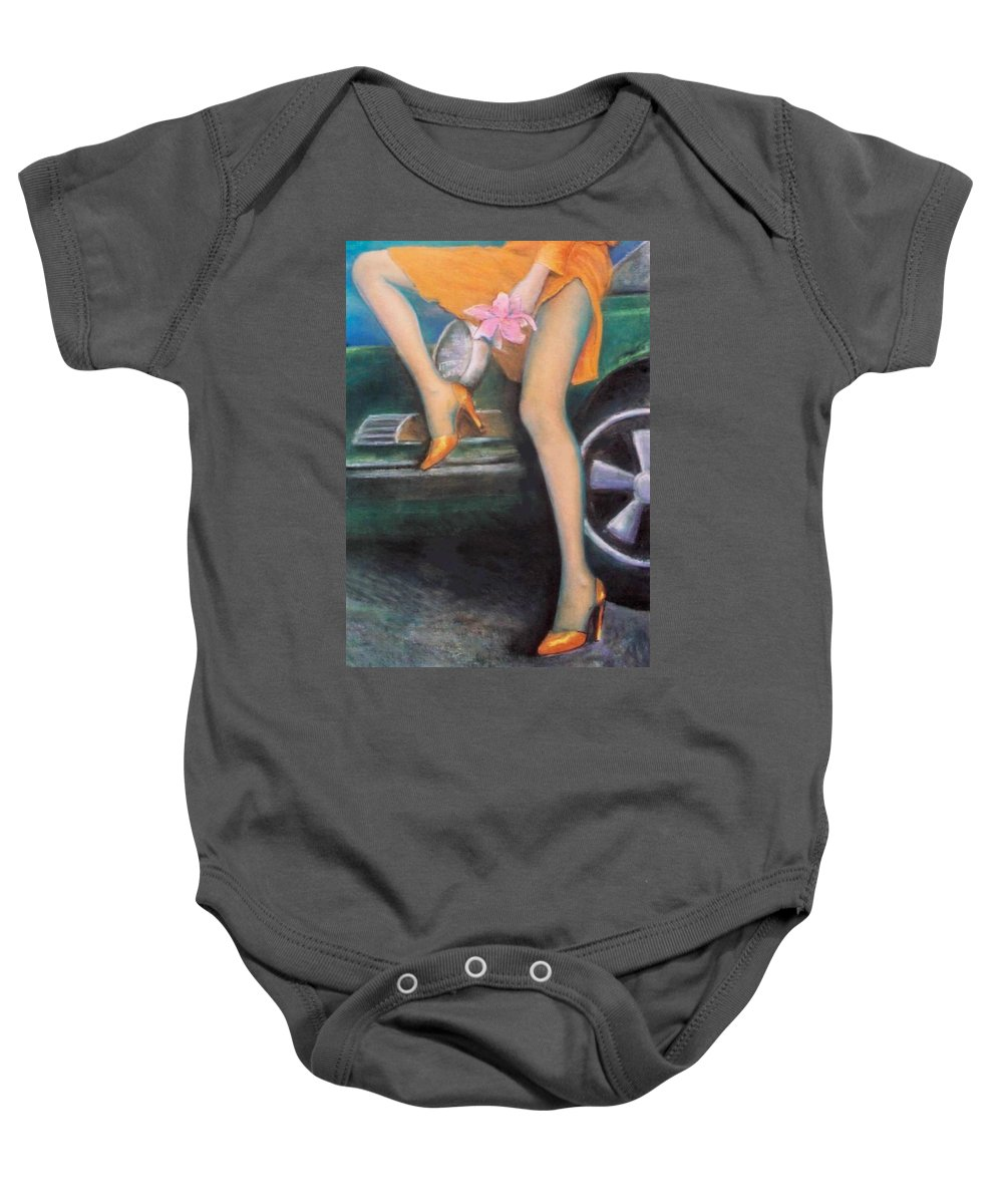 Sensual Baby Onesie featuring the pastel Green Porsche by Mary Ann Leitch